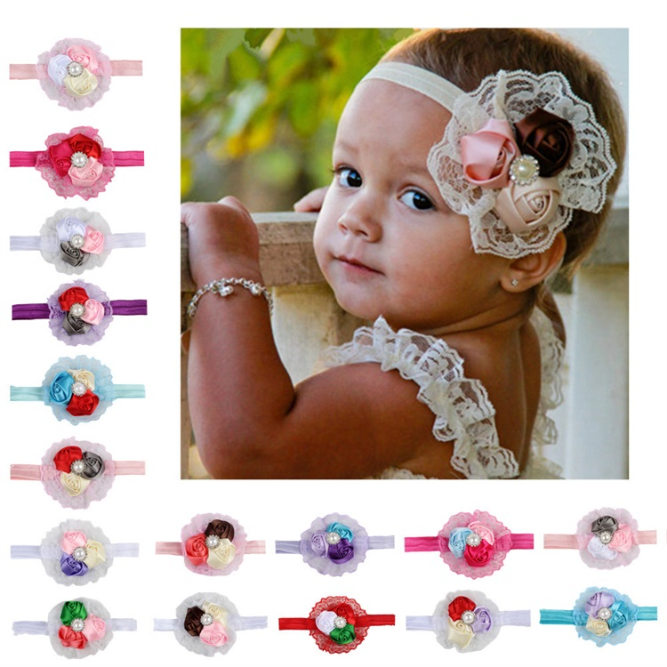 Hot Selling Clothing Accessories Rose Bract Lace Headdress Baby Hair Band