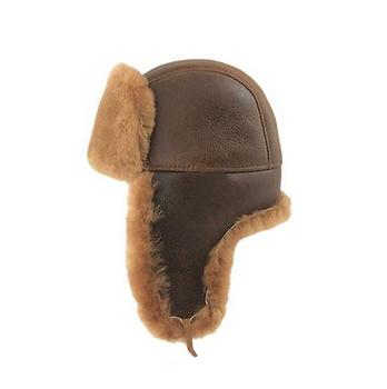 75515af0b48c2 Mens Genuine Leather Aviator Trapper Hats Custom Shearling Sheepskin  Trapper Hat
