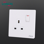 Wholesale hotel home use pc 1 Gang 13A DP euro electrical light button wall sockets and switches