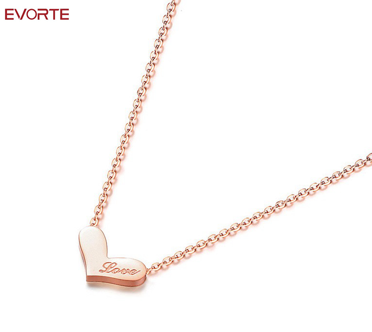 Wholesale <strong>Fashion</strong> Rose Gold Plated Stainless Steel Girls Love Heart Necklace as Valentines Gift
