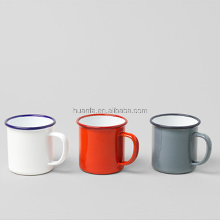 Kitchen Tableware Decal Printing Handgrip Customized Color Enamel Coffee Mug/Enamel Camping Mug