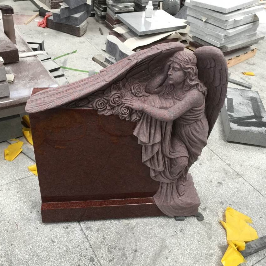 Good Price China Haobo Indian Red Granite Sweeping angel monument carved rose with Iso9001:2000 for cemetery momerials
