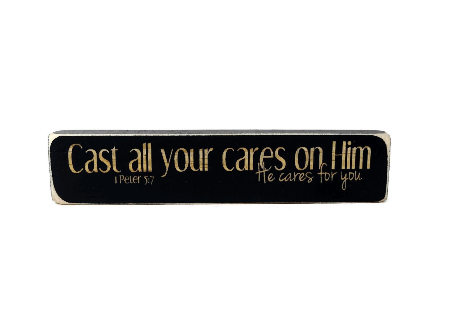 Buy Cast All Your Cares on Him He Cares 1 Peter 5:7 Wood