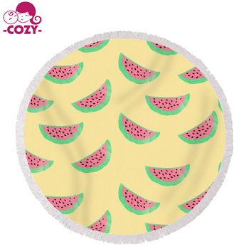 83db7c076d 2017 Soft Micorifber Reactive Printed Lovely Watermelon Personalized Round  Beach Towel for adult beach party