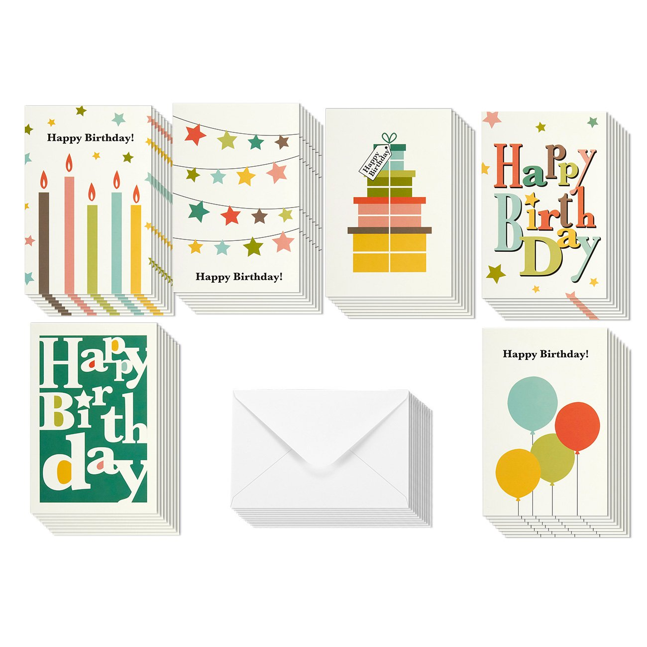 Birthday Card - 48-Pack Birthday Cards Box Set, Happy Birthday Cards – Bright Party Designs Birthday Card Bulk, Envelopes Included, 4 x 6 inches