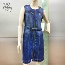 Nice selling sleeveless zipper open belt casual long sleeve solid fashion ladies denim dress