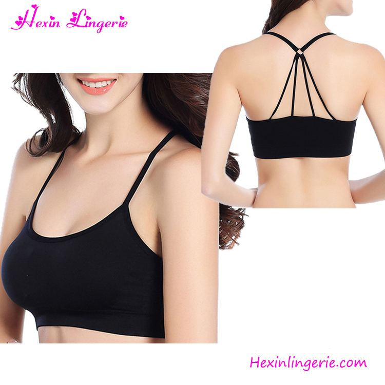 Sexy Cross Back Plain Black Yoga Custom Youth Women Sport Bra Top