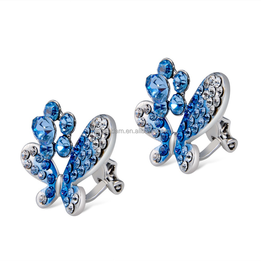 Butterfly Silver Crystal Rhinestone Pendant Studs Earrings Clip