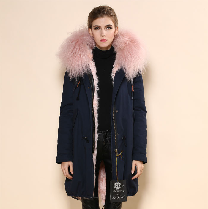 New Fashion Cotton Shell Real Sheep Fur Lining Pink Parka Coat ...