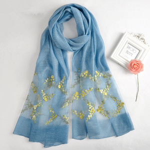 2017 wholesale spring new arrival silk wool blending embroidery and pearl beads hijab scarves