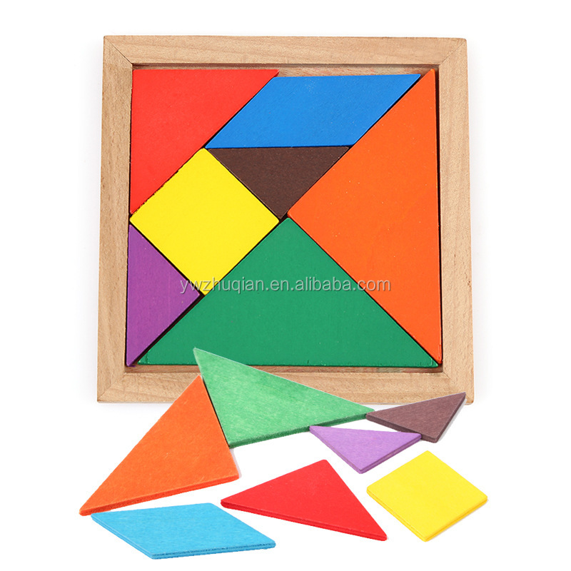 Seven piece wooden colorful educational toy 3d jigsaw puzzle for child