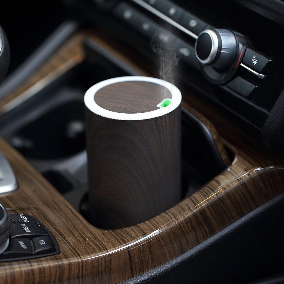 Portable USB Aroma Diffuser Electric Car Air Freshener Humidifier with Led Lights Wood Grain