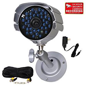 VideoSecu Day Night Outdoor Bullet Security Camera 520 TVL Infrared 36 IR LEDs Built-in Mechanical IR-Cut filter switch for CCTV DVR Home Surveillance System with Free Power Supply and Cable A14