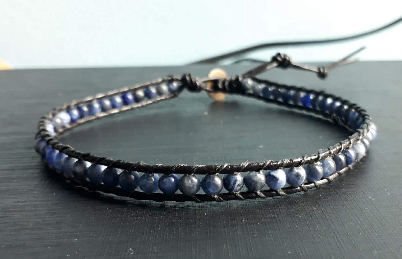 Kyanite stone leather anklets men anklets women anklets friendship anklets gift anklets fashion anklets blue anklets