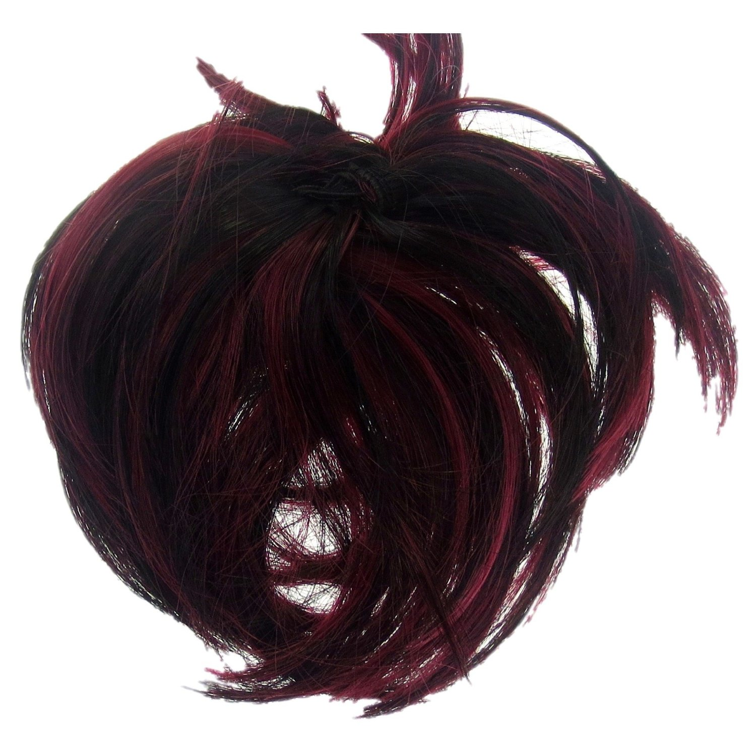 Buy Scrunchie Hair Extension Black With Ruby Red Highlights Up Do