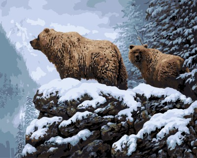 GX 7655 bear numbers oil painting on canvas for wall decor