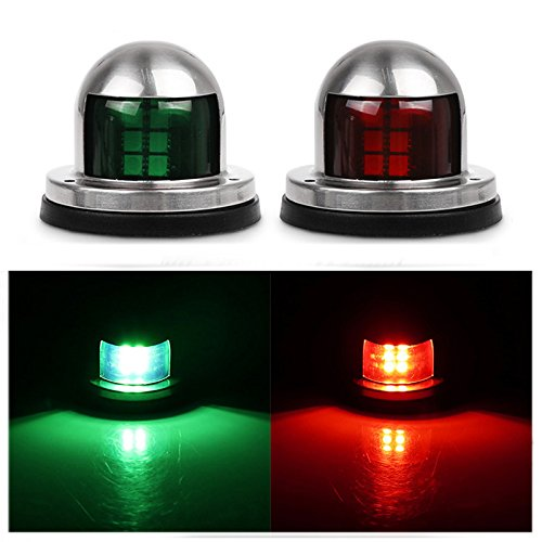 Navigation Lights Eco-Home Marine Boat Yacht Light Green Red LED Boat Bow Lights Waterproof Pontoon Starboard Sailing Signal Lights - 1 Pair