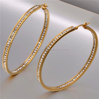 Latest Fashion Women Gold Earring Designs Circle Hop Statement Crystal