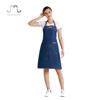 Adjustable Bib Cooking Housekeeping Pinafore Cleaning Make Up Coffee Shop Gardening Apron Denim Uniform Man With Pockets