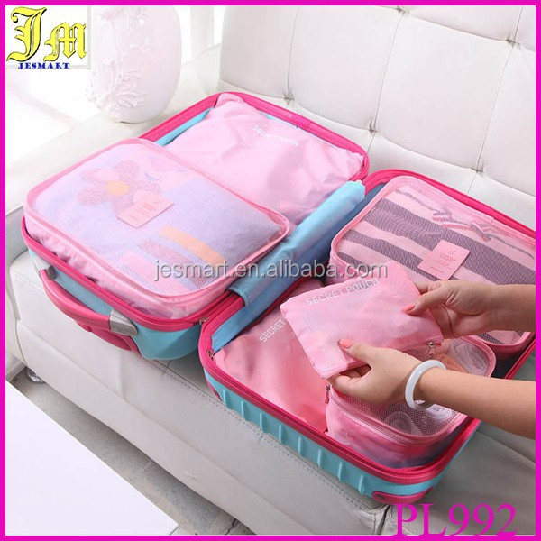 6 Pieces Set Travel Packing Organizer Bag Mesh Organizer Cubes For Washing Clothes Underwear Storage, Luggage Inner Bag in Bag