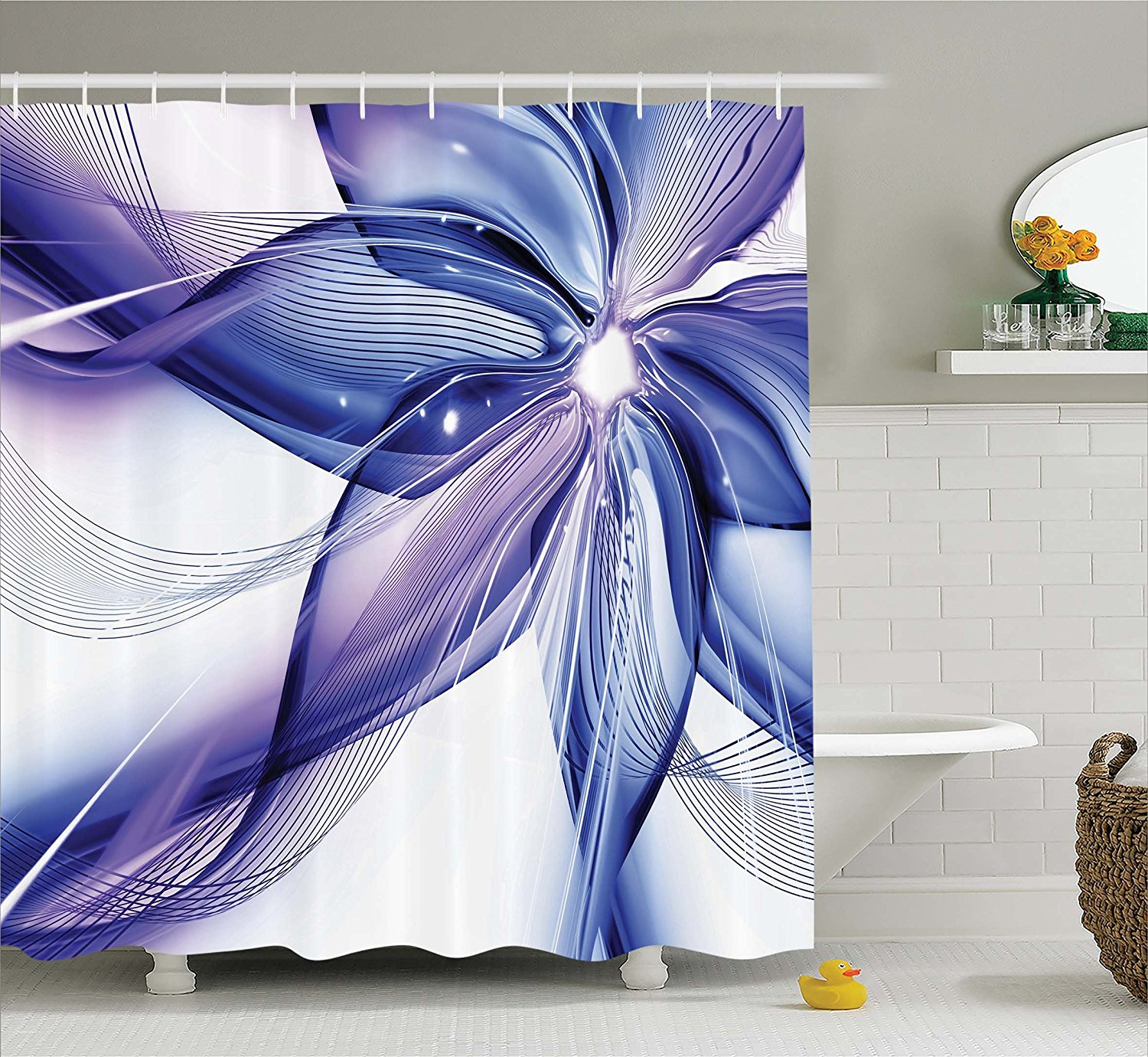 Ambesonne Abstract Decor Shower Curtain, Geometrical Smoke like Striped Huge Flower Floral Design Artwork, Fabric Bathroom Decor Set with Hooks, 70 Inches, Blue White and Purple