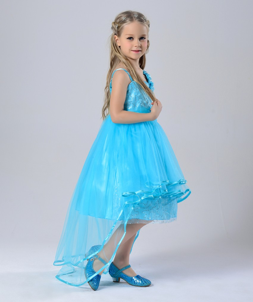 Baby Girl Wedding Dress Azure Color With Long Skirt Girls Party ...