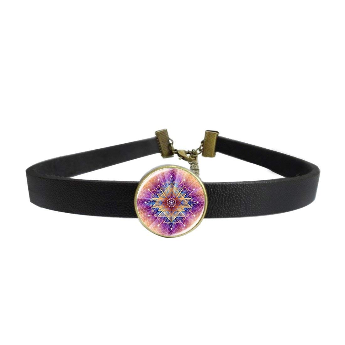 WAZZIT Vintage Choker Neck Collar Vintage Purple Flower Of Life Picture Goth Punk Leather Necklace with Glass Pendant