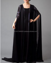 high quality fashion jersey abaya,muslim dress wear -Coat style cheap multi colored jersey abaya design 2014