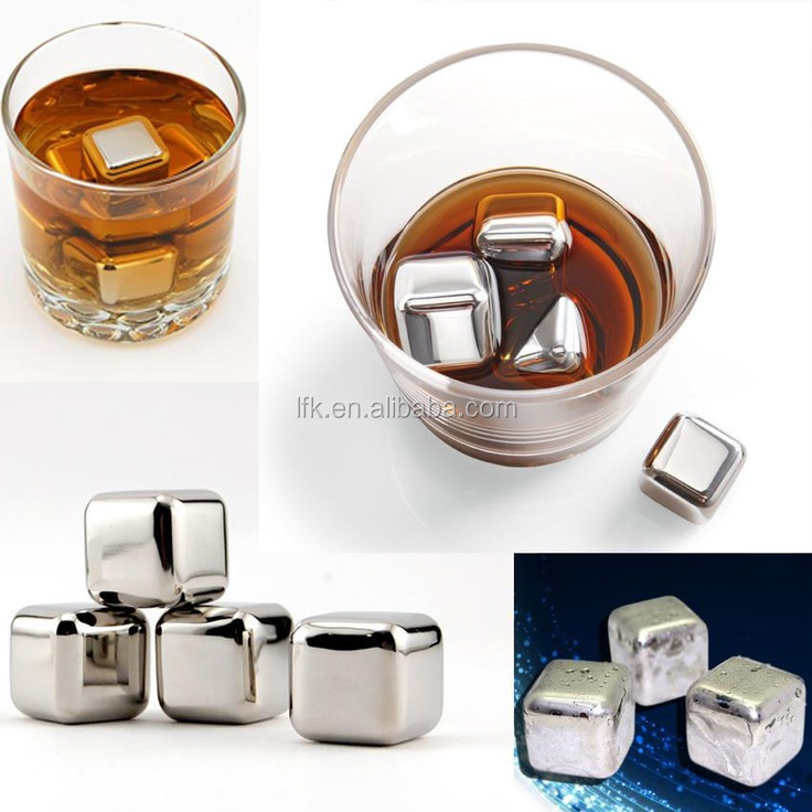 Custom Logo And Box 8 Stainless Steel Wine Ice Cube Whiskey Stone LFK-IC01