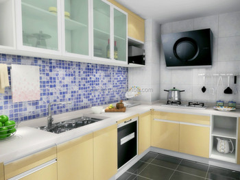 Desain Furniture Modern Zaitun Kuning Dapur Kabinet Dengan Baru