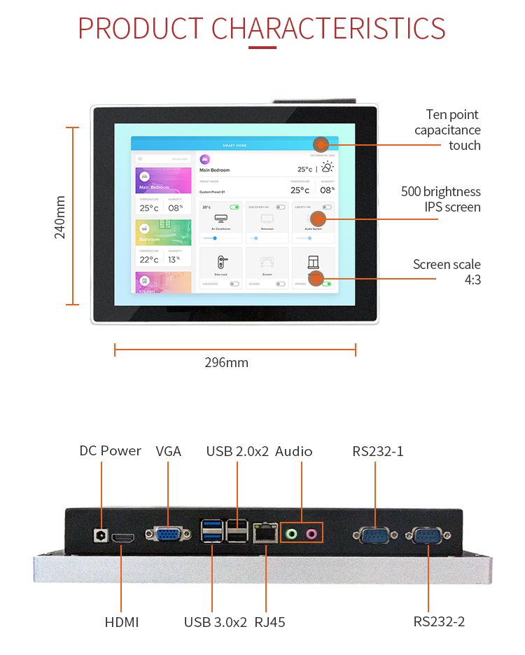 12.1 Inch Goedkope Touchscreen All In One Industriële Panel Pc