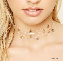 Newest Hot Sell Clear Fish Wire Stealth Five-pointed Star Multilayer Chain Choker Necklace