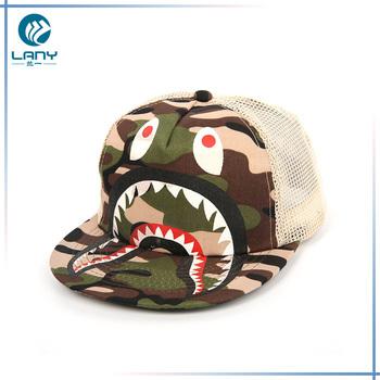 8f3f2f127bc8d Fashion summer 5 panel baseball cap kids flat brim trucker hat funny camo  sun beach hats