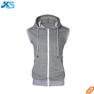 Mens with pocket full zip 100 polyester front pocket sleeveless hoodie
