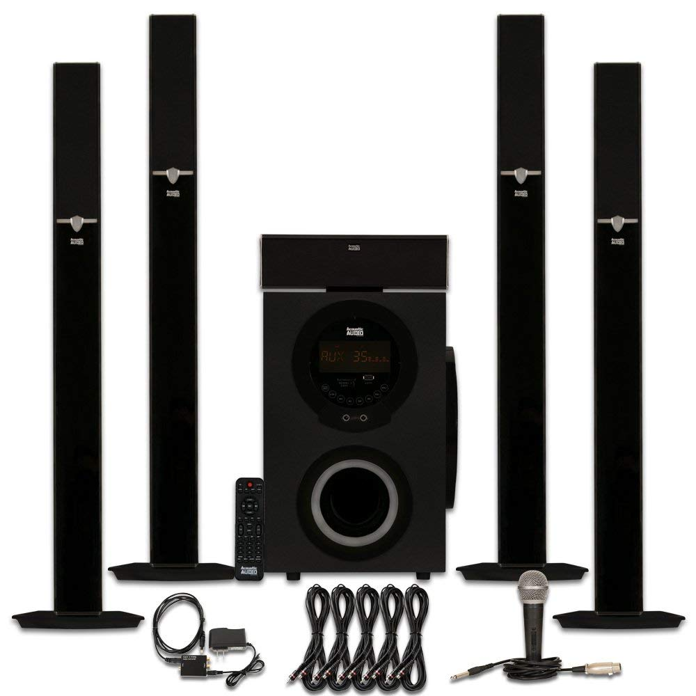 Acoustic Audio AAT3003 Tower 5.1 Bluetooth Speaker System with Optical Input Mic and 5 Extension Cables