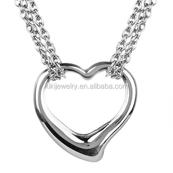 High Polished Women Stainless Steel Double Strand Rolo Chains Open Heart Necklace With Toggle Clasp