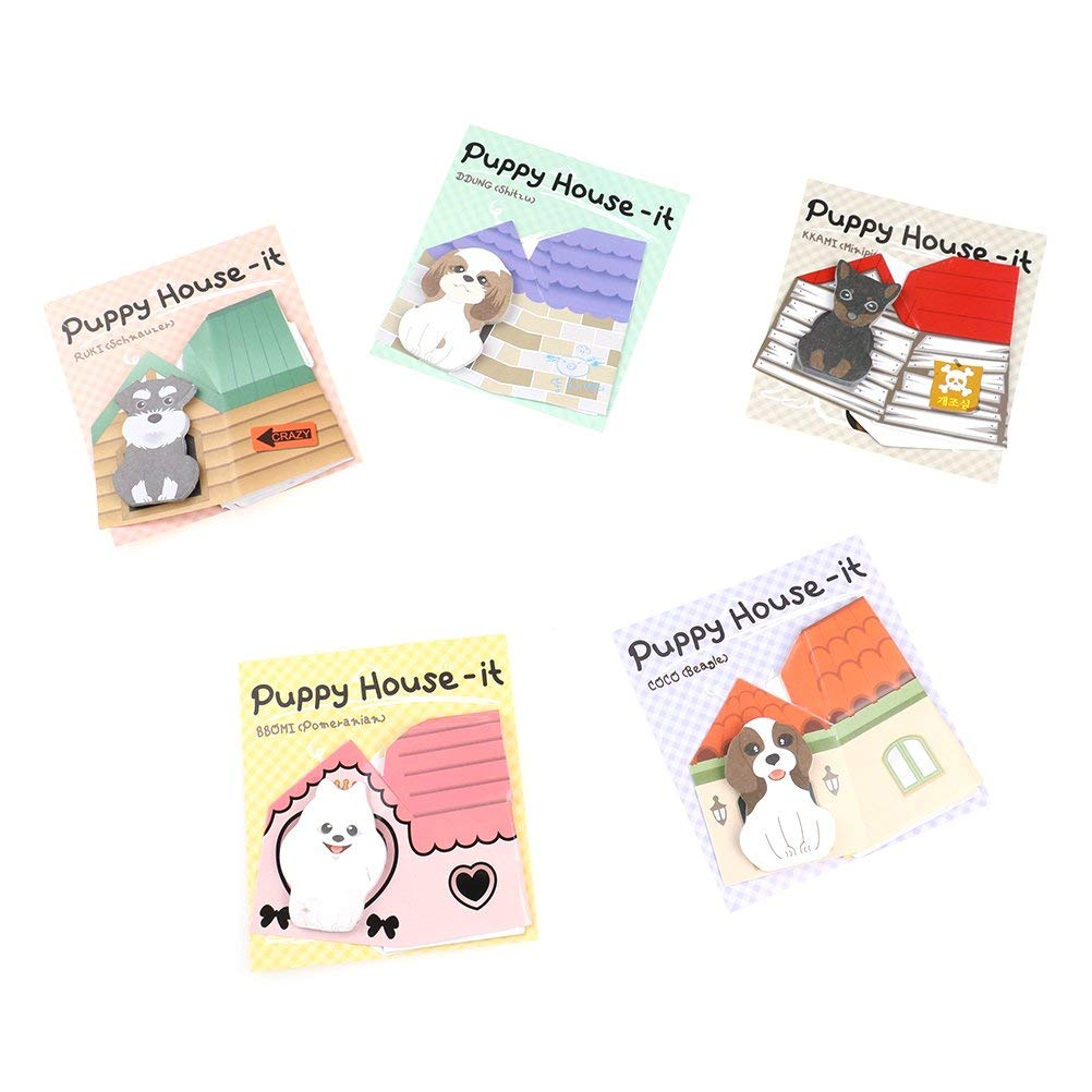 Welecom 10 Pads/Pack Puppy Dog Novelty Sticky Notes Sticker Marker Memo Notepad,30 Sheets/Pad,