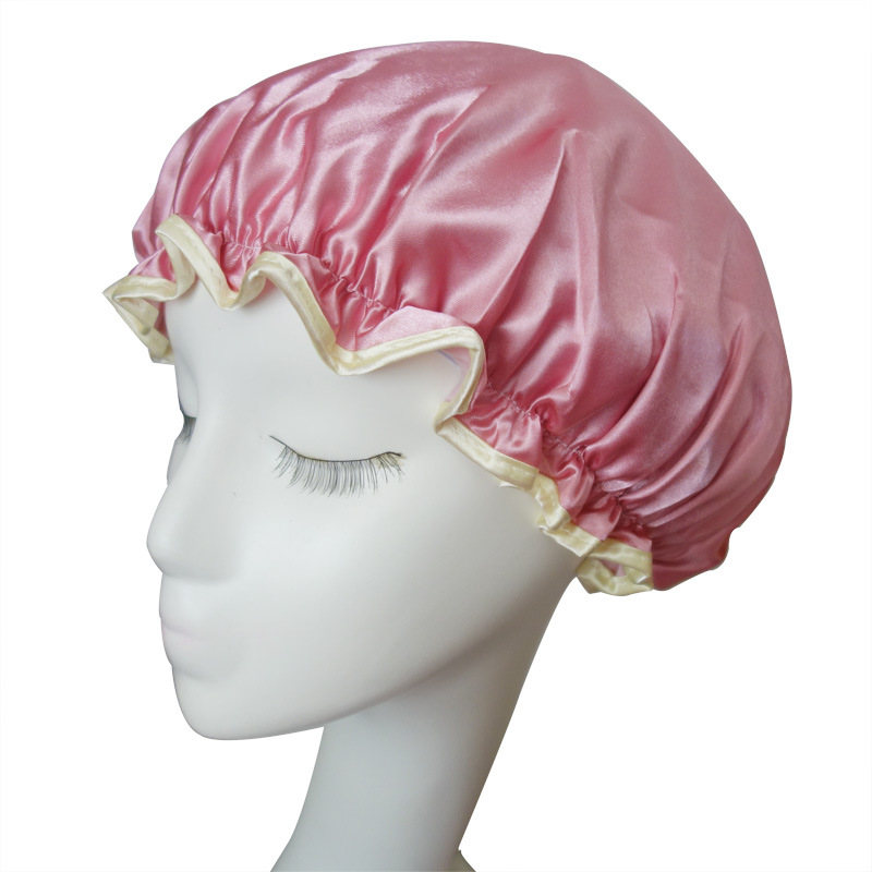 Factory sale shads double layer waterproof satin shower cap for women