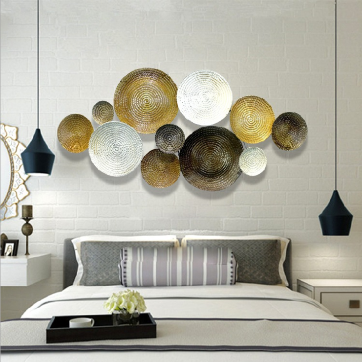 Gold White Round Art Wall Decor With
