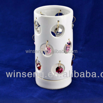 White Ceramic Candle Holder with Crystals