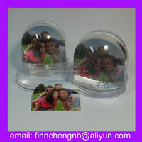 middle size acrylic/plastic snow globe with photo frame insert,promotional gifts magic revolving water ball,souvenir snow ball