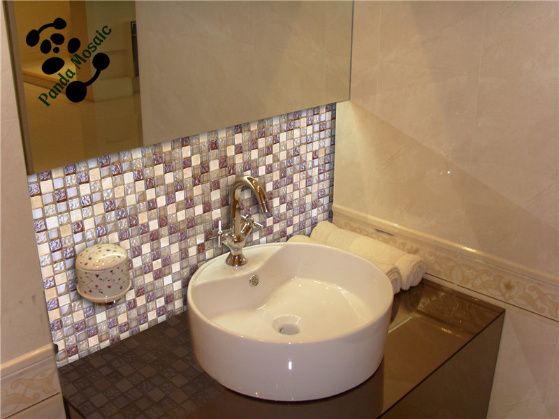 MB SMS08 Decorative Bathroom Wall Tile Design Glass Stone Mosaic Tile Wash  Basin Wall Tiles