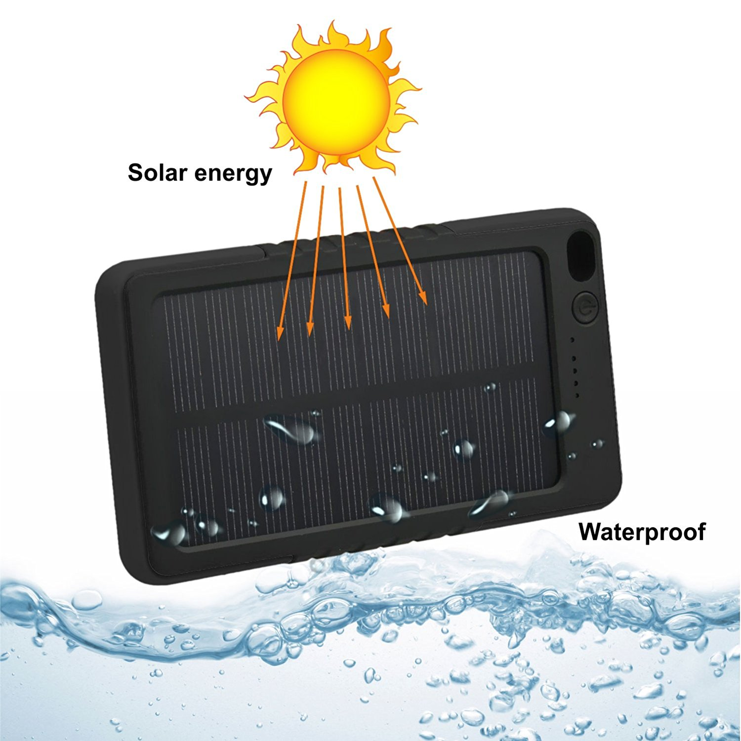 Solar Portable Charger Waterproof 8000mah LED External Battery Charger Power Bank For Cell Phone, iPhone, Samsung, Android phones, Windows phones, GoPro Camera, GPS, (Black)