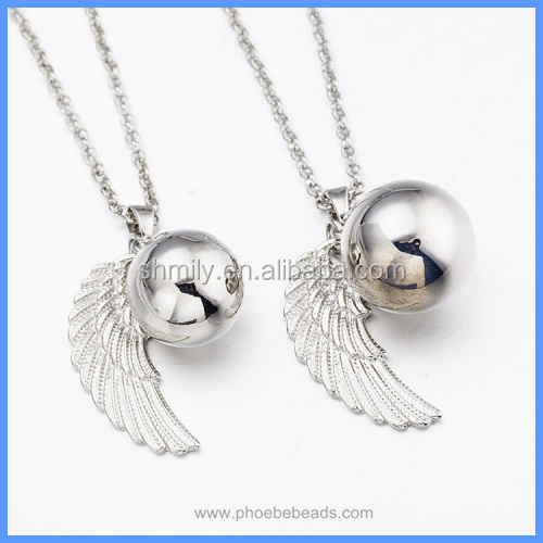 Gold And White K Angel Wing Round Sound Bell Ball Pendant Necklace For Pregnant Women BAC-M024