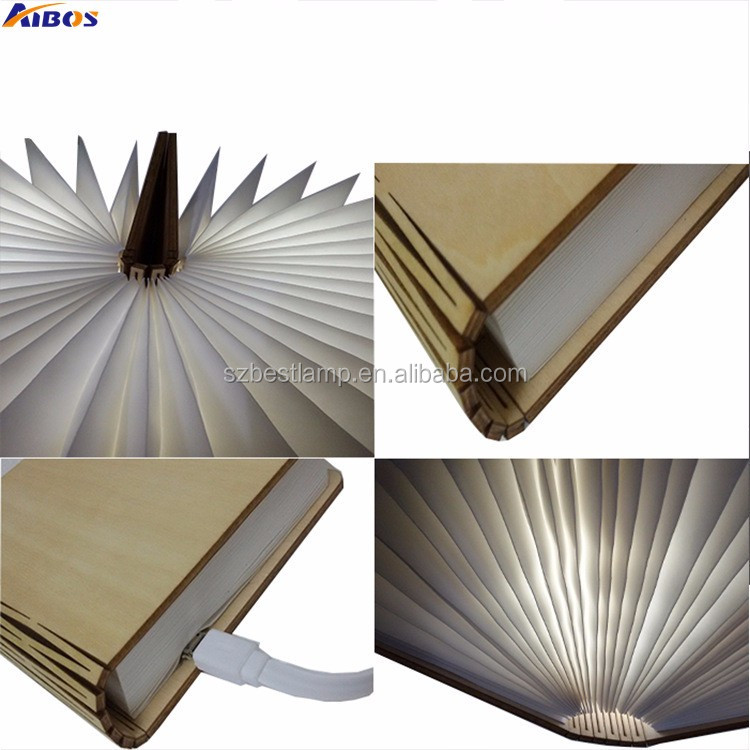 New Folding LED Book Light Wooden Cover Reading Light Lumio Book Lamp  Folding Led Book