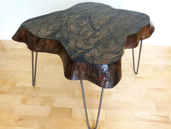 Modern Rustic Slab End Table With Live Edge