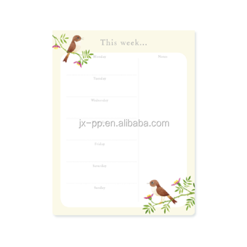 customized weekly planner pad nightingale from china manufacture