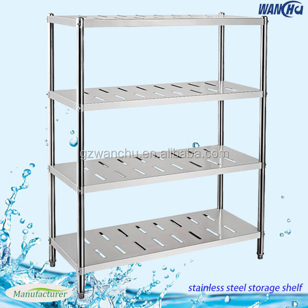 Stainless Steel Commercial Kitchen Storage Rack Metal Warehouse Display Shelf Stand China Factory