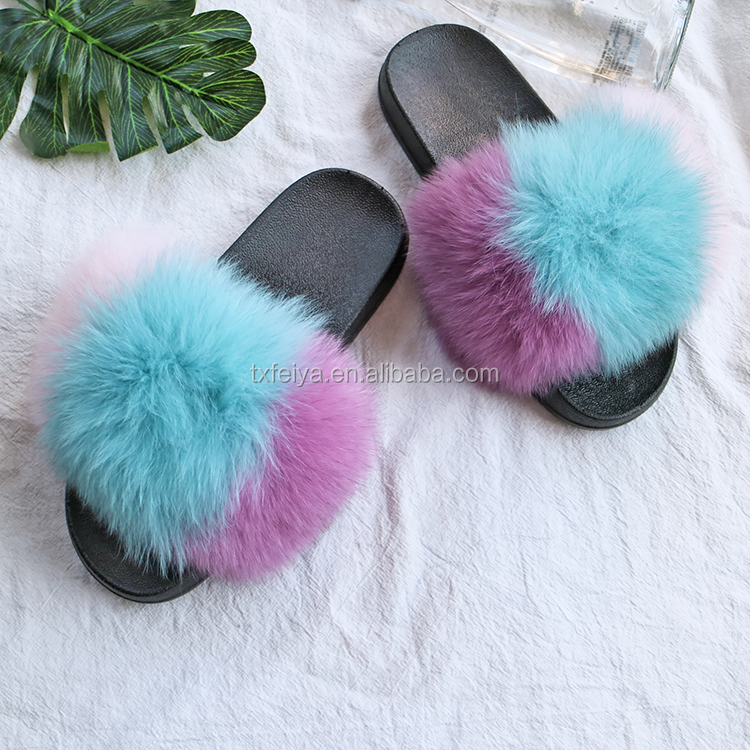 f2954434750 Rainbow Style Fox Fur Slides Natural Real Fur Two Color Slipper ...