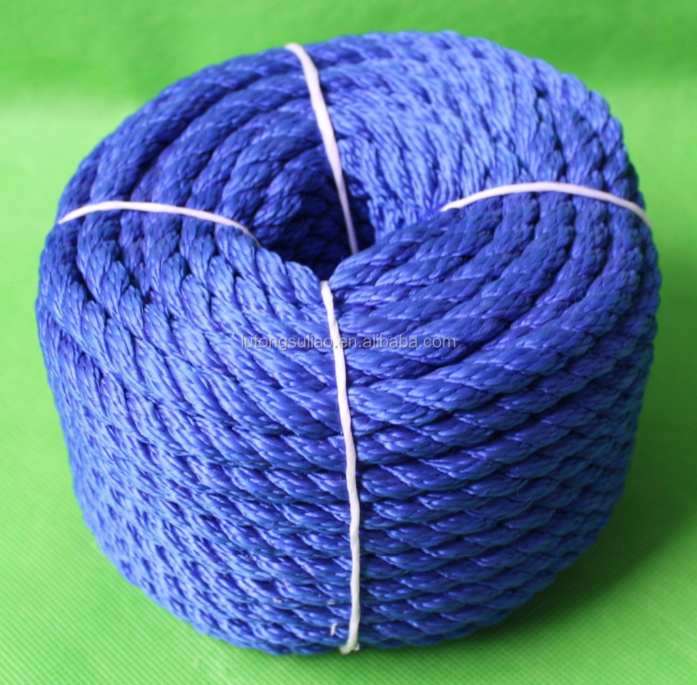 blue 10mm polypropylene multifilament 3 strands twisted rope